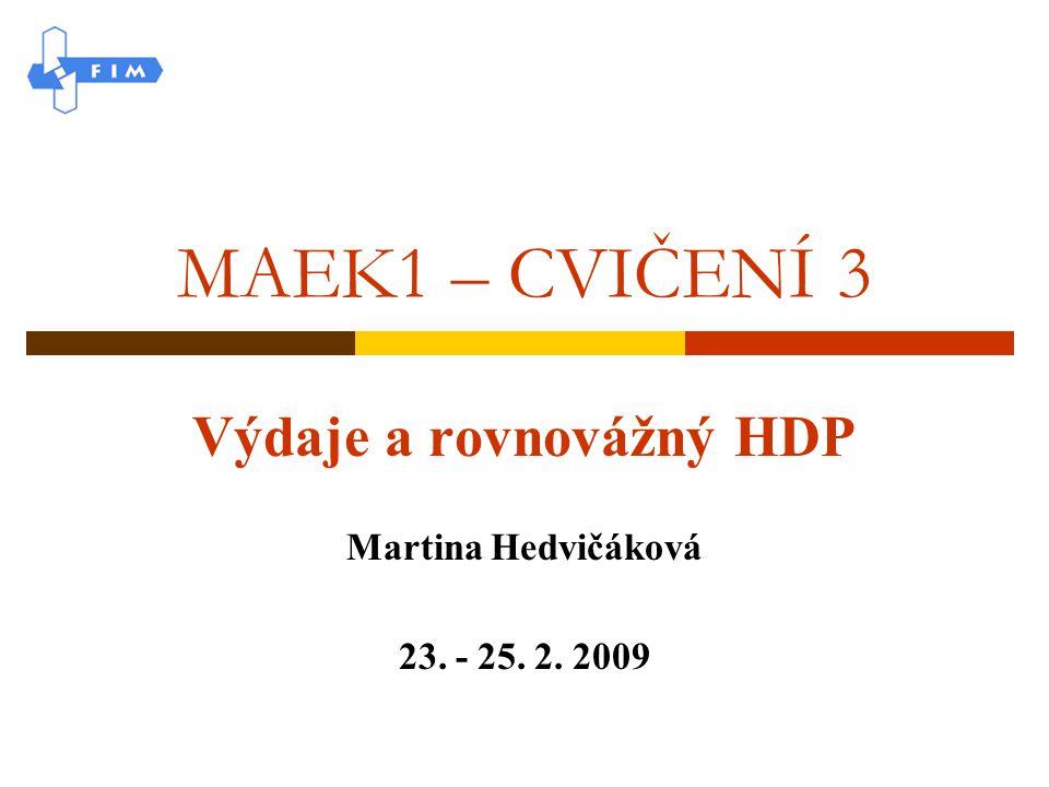 Výdaje a rovnovážný HDP Martina Hedvičáková 23. - 25. 2. 2009