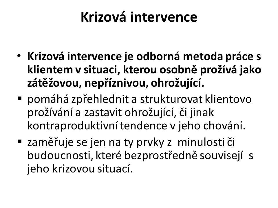 Krizová intervence Krizová intervence je odborná metoda práce s klientem v situaci, kterou osobně prožívá jako zátěžovou, nepříznivou, ohrožující.