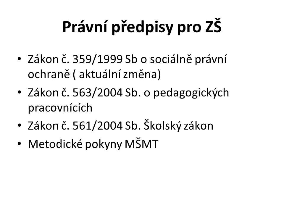 Právní předpisy pro ZŠ Zákon č. 359/1999 Sb o sociálně právní ochraně ( aktuální změna) Zákon č. 563/2004 Sb. o pedagogických pracovnících.
