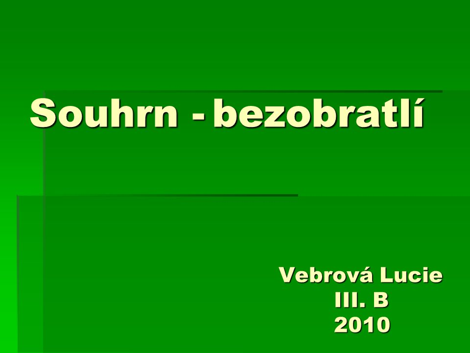 Souhrn - bezobratlí Vebrová Lucie III. B 2010