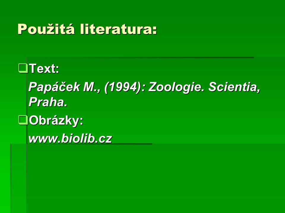Použitá literatura: Text: