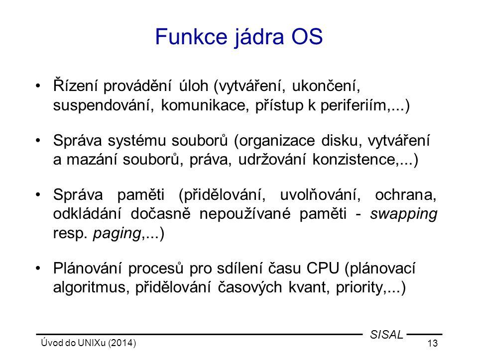 Funkce jádra OS Řízení provádění úloh (vytváření, ukončení, suspendování, komunikace, přístup k periferiím,...)