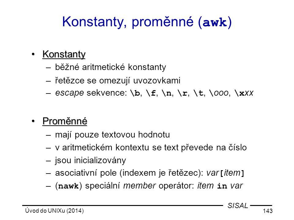 Konstanty, proměnné (awk)