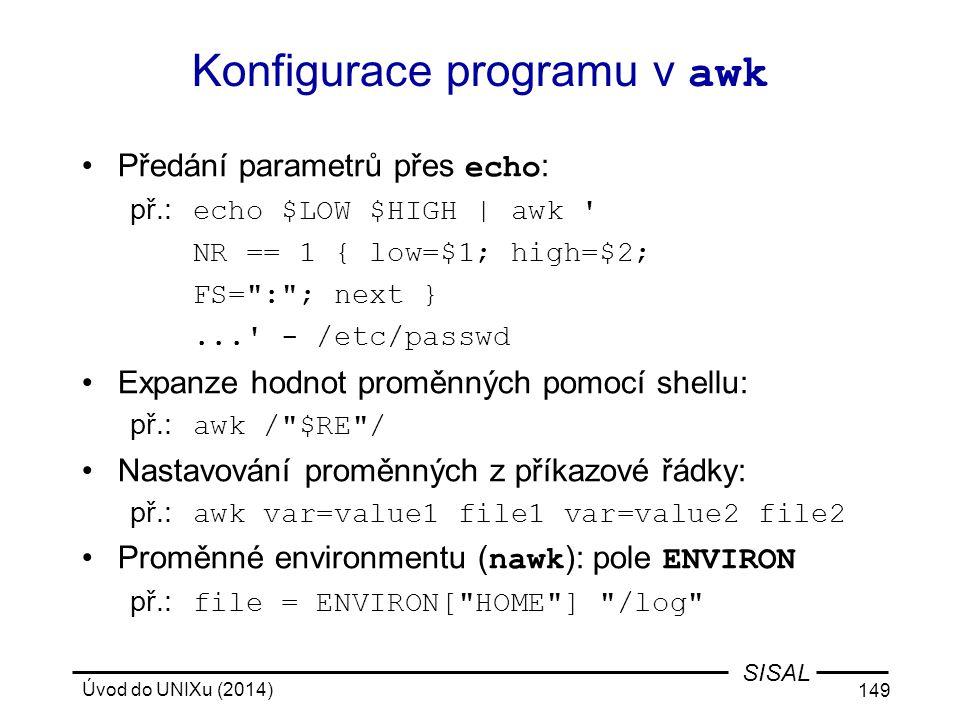 Konfigurace programu v awk