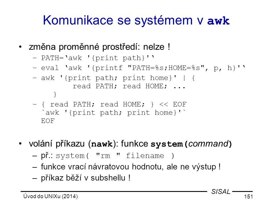 Komunikace se systémem v awk