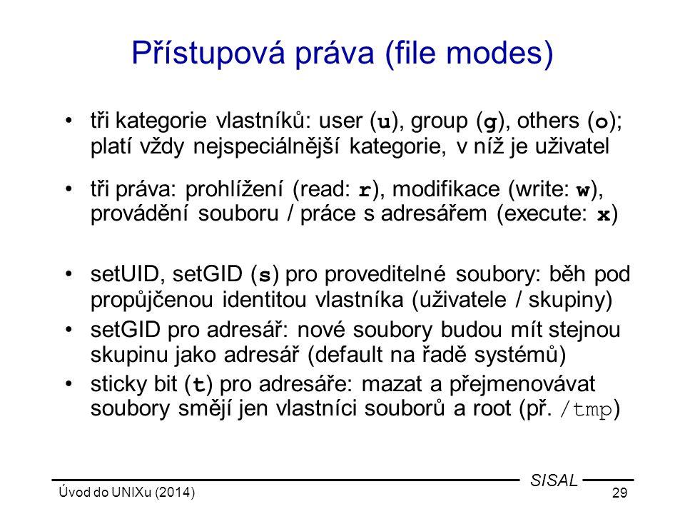 Přístupová práva (file modes)