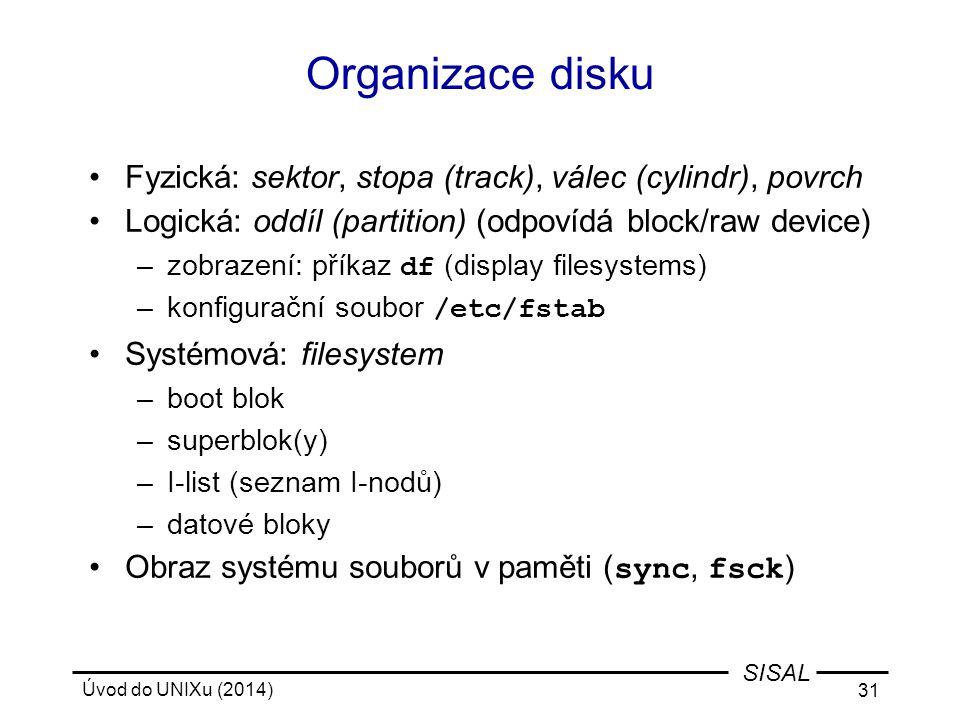 Organizace disku Fyzická: sektor, stopa (track), válec (cylindr), povrch. Logická: oddíl (partition) (odpovídá block/raw device)