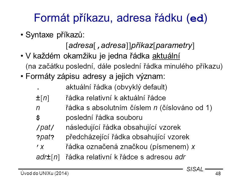 Formát příkazu, adresa řádku (ed)