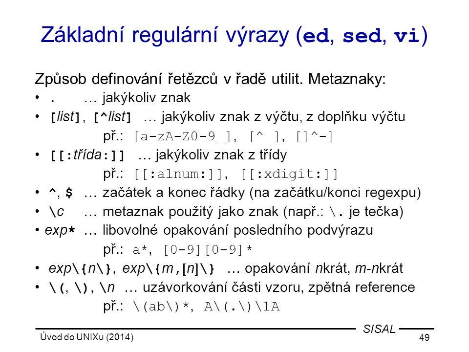 Základní regulární výrazy (ed, sed, vi)