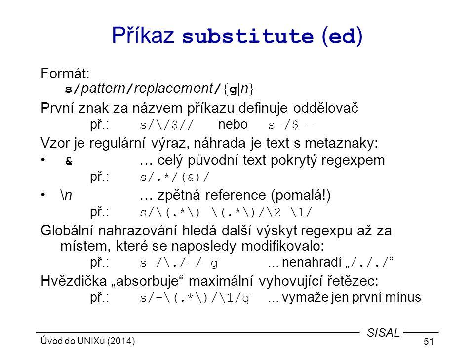 Příkaz substitute (ed)