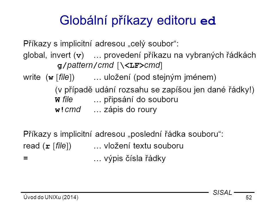 Globální příkazy editoru ed