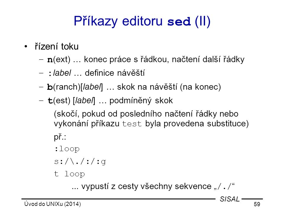 Příkazy editoru sed (II)