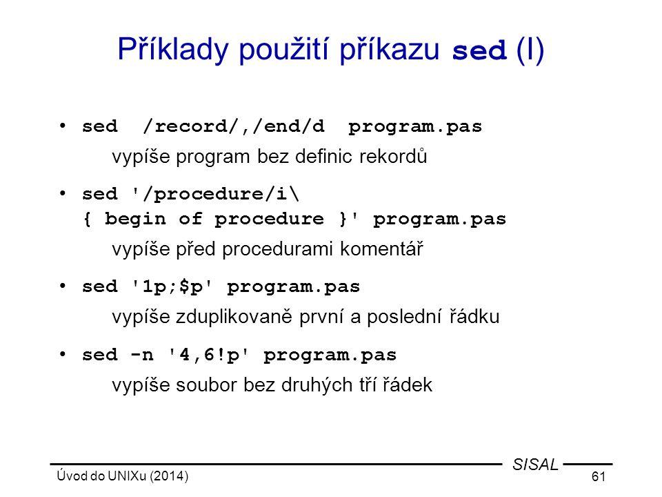 Příklady použití příkazu sed (I)