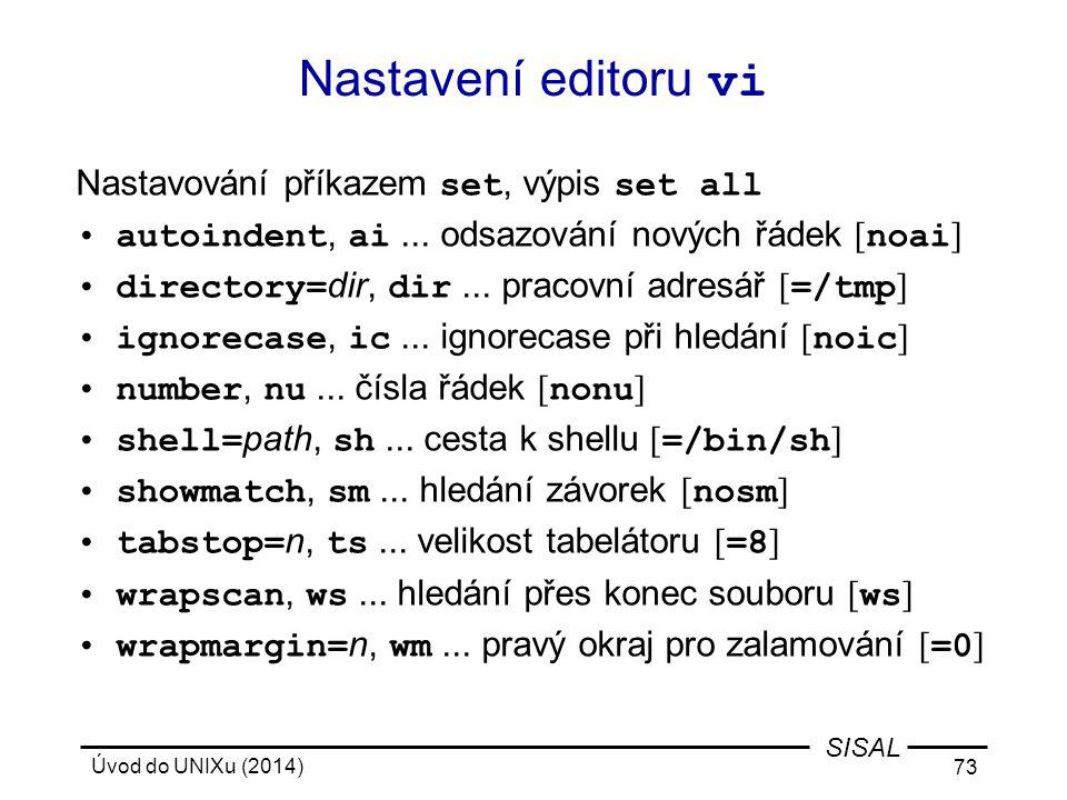 Nastavení editoru vi Nastavování příkazem set, výpis set all
