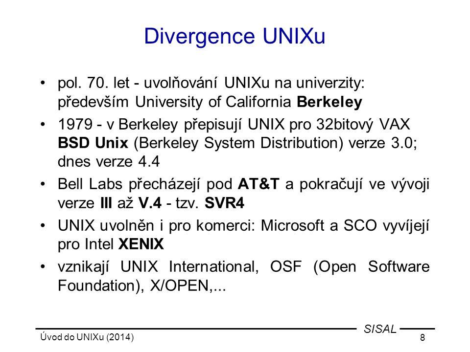 Divergence UNIXu pol. 70. let - uvolňování UNIXu na univerzity: především University of California Berkeley.