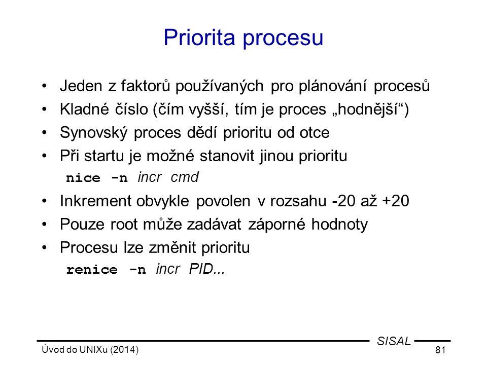 Priorita procesu Jeden z faktorů používaných pro plánování procesů