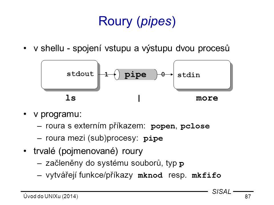 Roury (pipes) v shellu - spojení vstupu a výstupu dvou procesů
