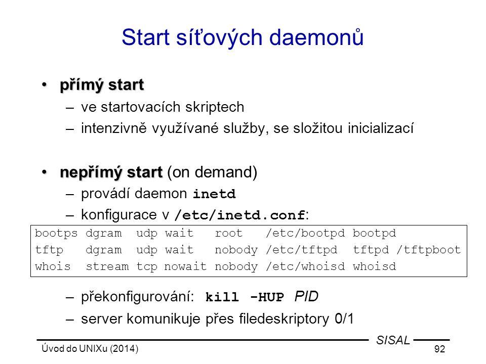 Start síťových daemonů
