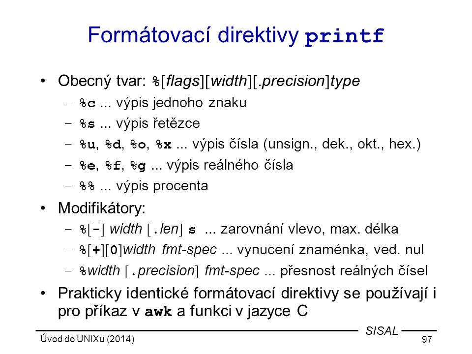 Formátovací direktivy printf