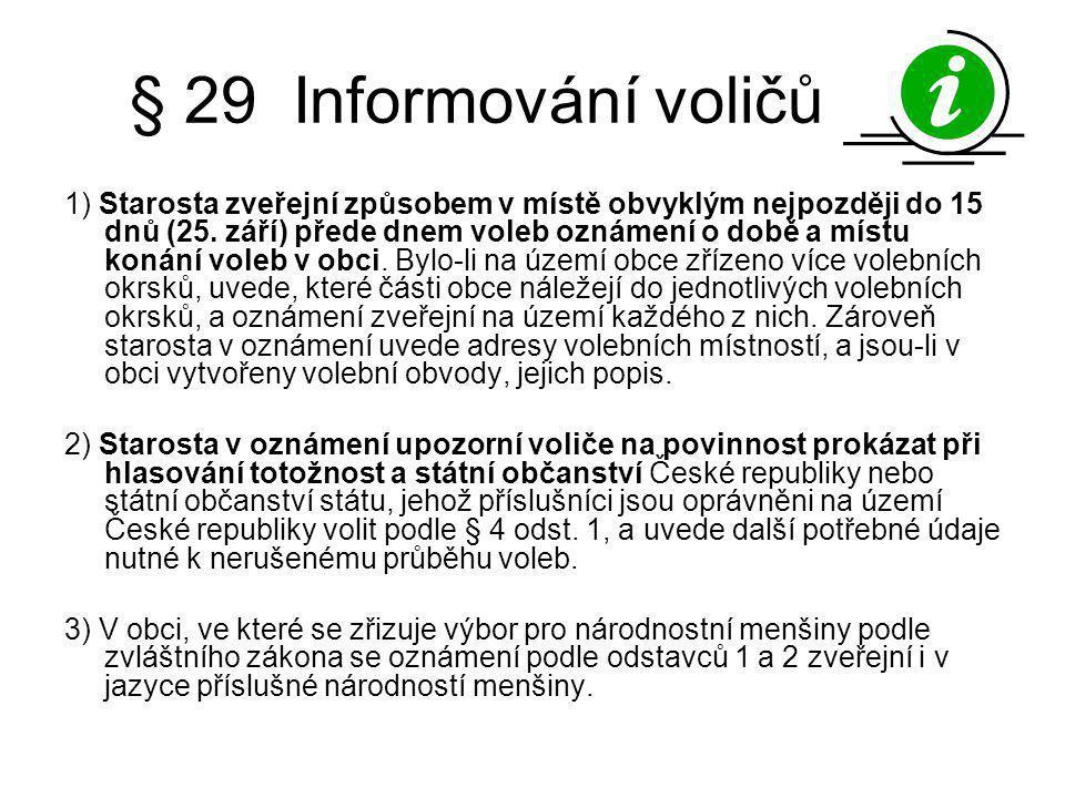 § 29 Informování voličů
