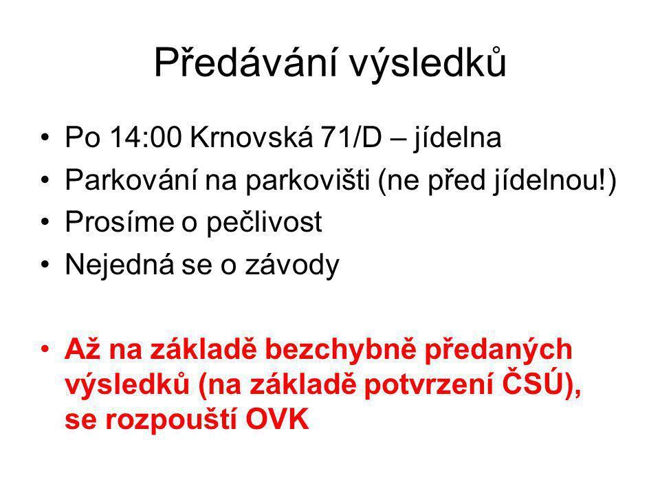 Předávání výsledků Po 14:00 Krnovská 71/D – jídelna
