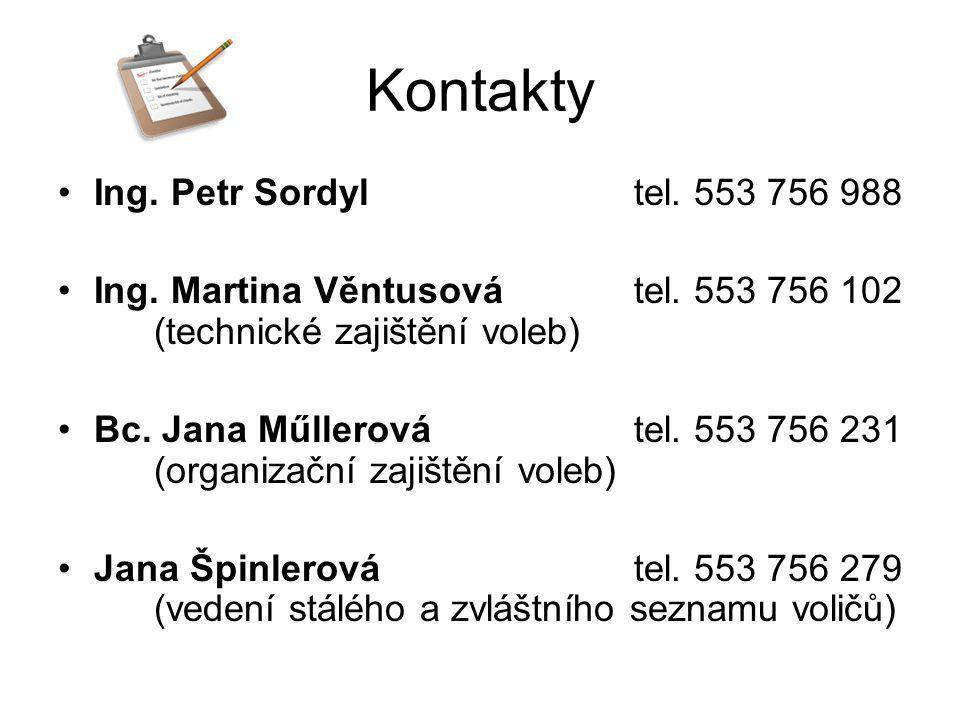 Kontakty Ing. Petr Sordyl tel. 553 756 988
