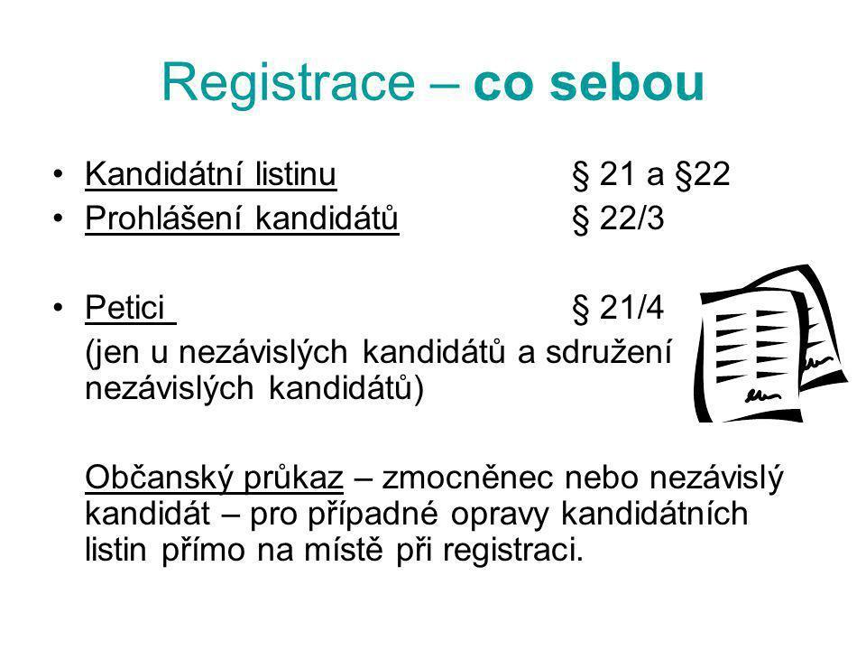 Registrace – co sebou Kandidátní listinu § 21 a §22