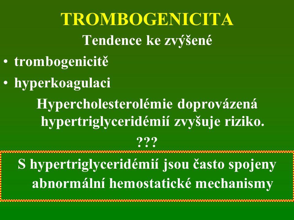 Hypercholesterolémie doprovázená hypertriglyceridémií zvyšuje riziko.