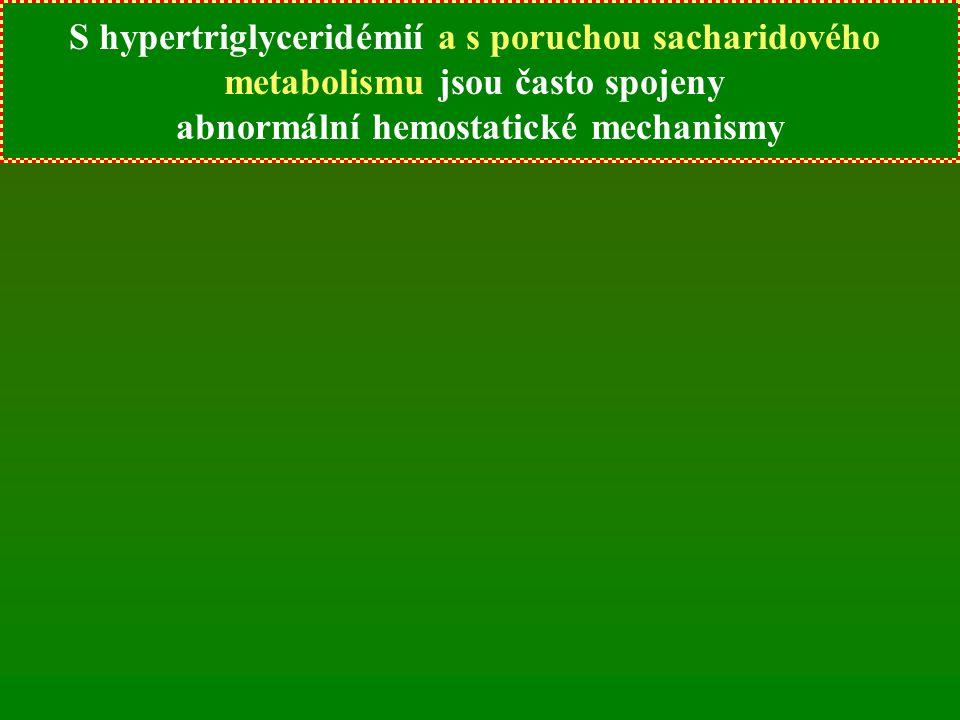 S hypertriglyceridémií jsou často spojeny abnormální hemostatické mechanismy