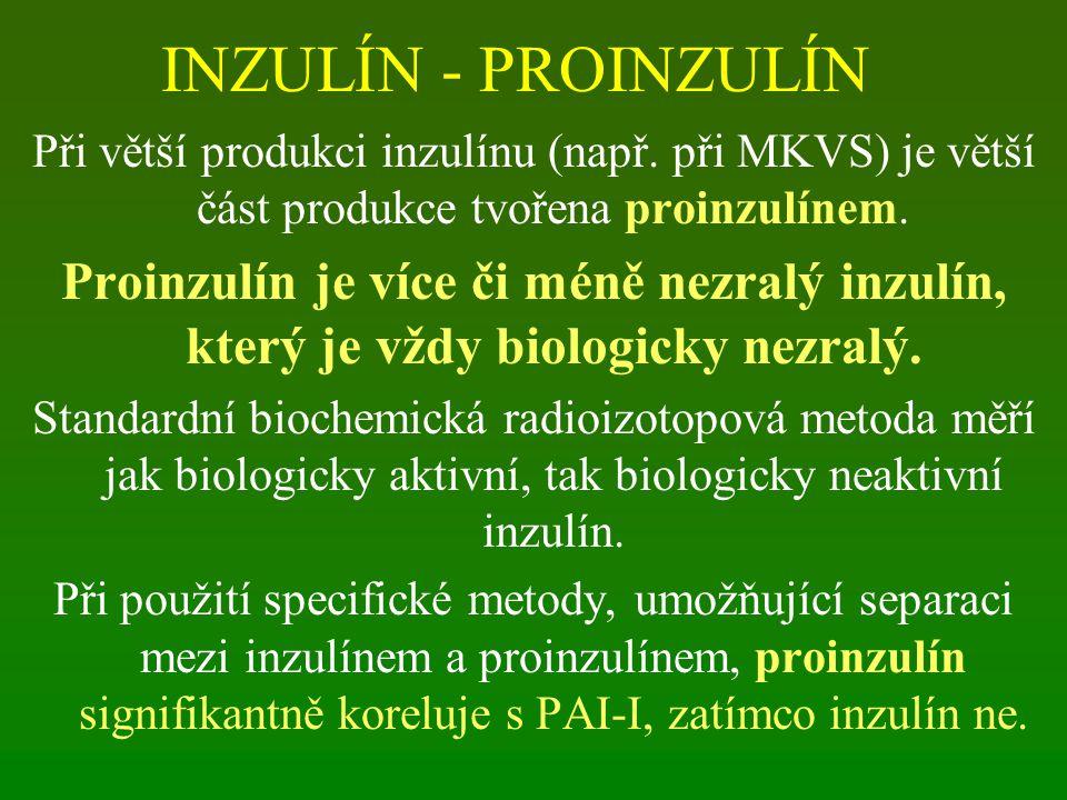 INZULÍN - PROINZULÍN Při větší produkci inzulínu (např. při MKVS) je větší část produkce tvořena proinzulínem.