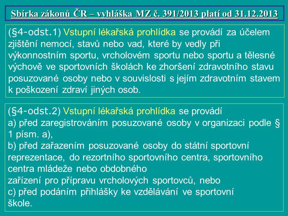 Sbírka zákonů ČR – vyhláška MZ č. 391/2013 platí od 31.12.2013