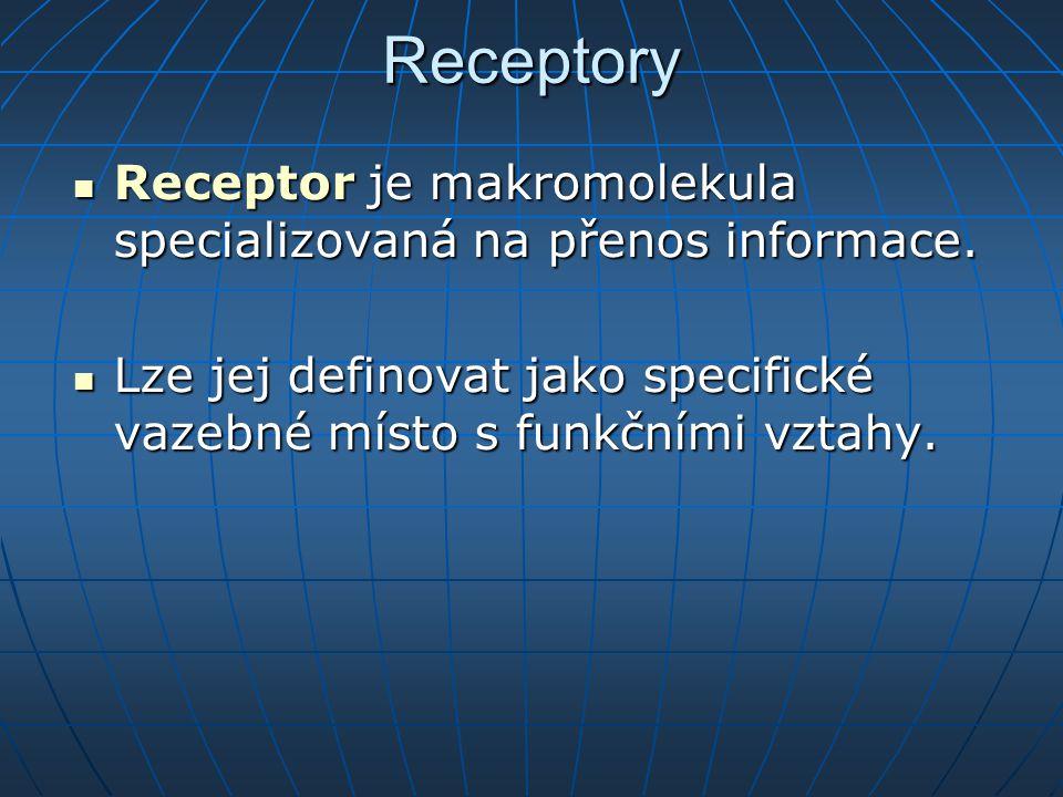 Receptory Receptor je makromolekula specializovaná na přenos informace.