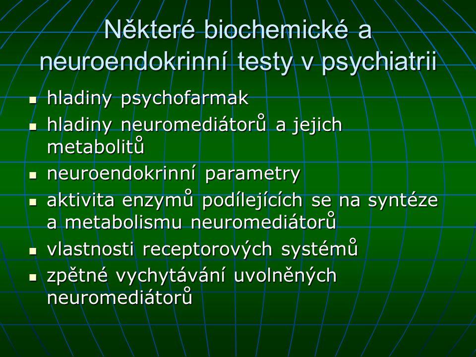 Některé biochemické a neuroendokrinní testy v psychiatrii