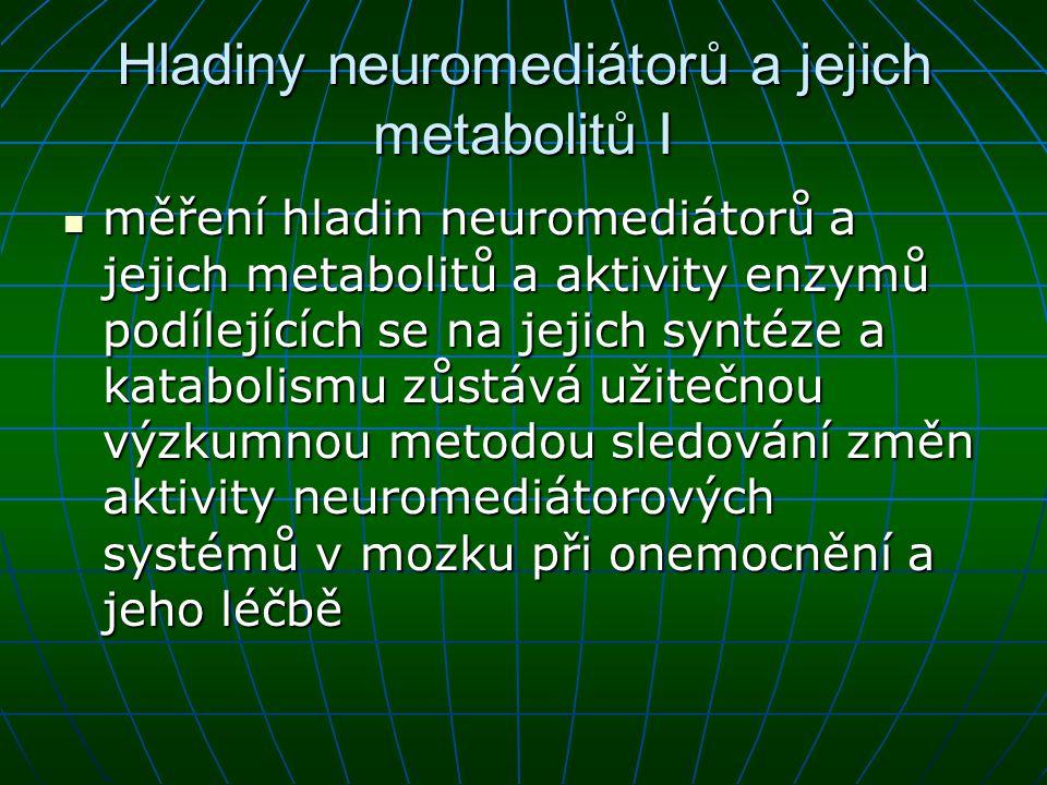 Hladiny neuromediátorů a jejich metabolitů I