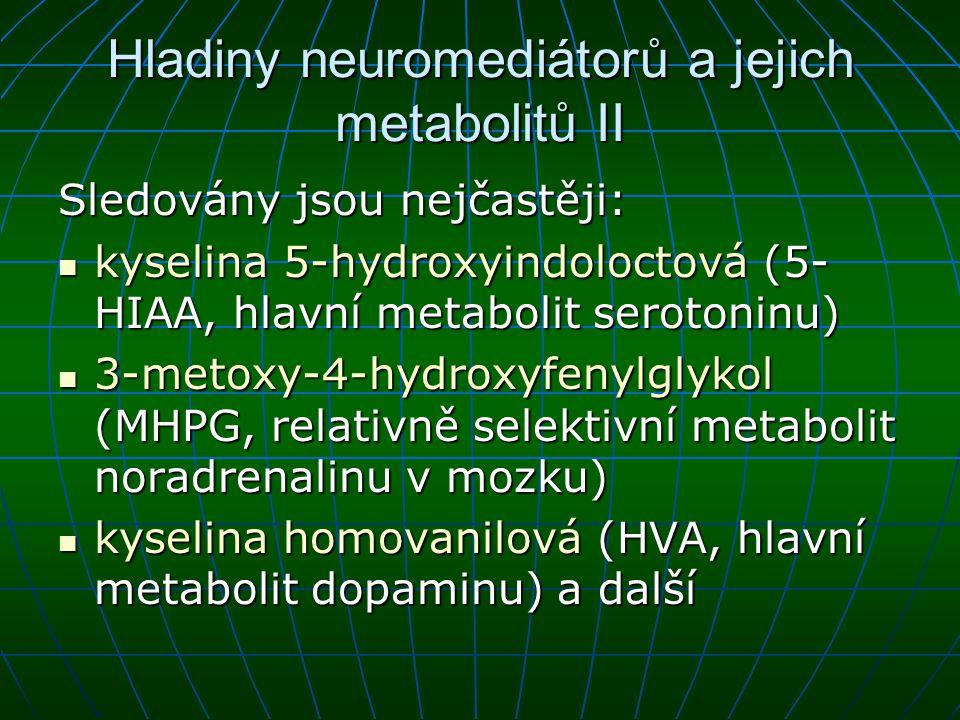 Hladiny neuromediátorů a jejich metabolitů II