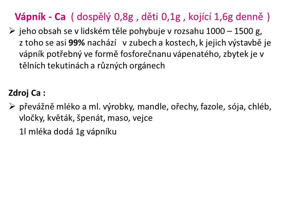 Vápník - Ca ( dospělý 0,8g , děti 0,1g , kojící 1,6g denně )