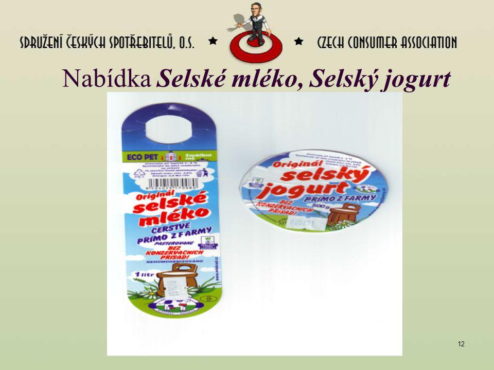 Nabídka Selské mléko, Selský jogurt