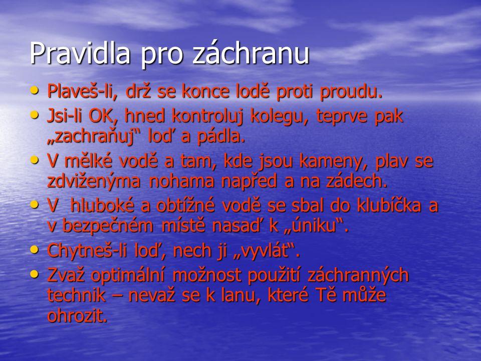 Pravidla pro záchranu Plaveš-li, drž se konce lodě proti proudu.