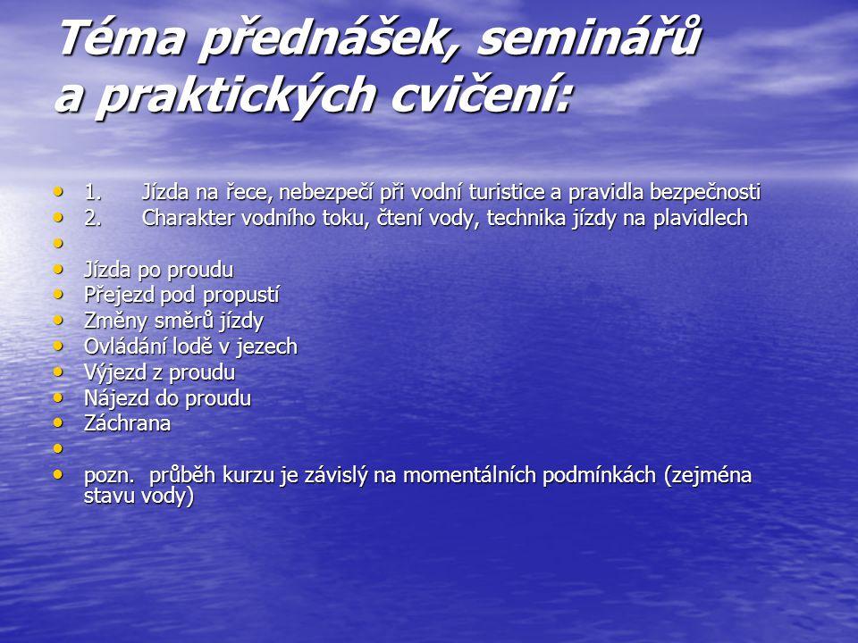 Téma přednášek, seminářů a praktických cvičení: