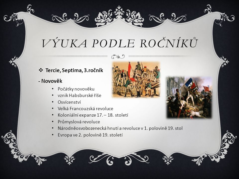 výuka podle ročníků Tercie, Septima, 3.ročník - Novověk
