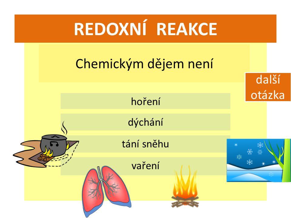 REDOXNÍ REAKCE Chemickým dějem není další otázka hoření dýchání