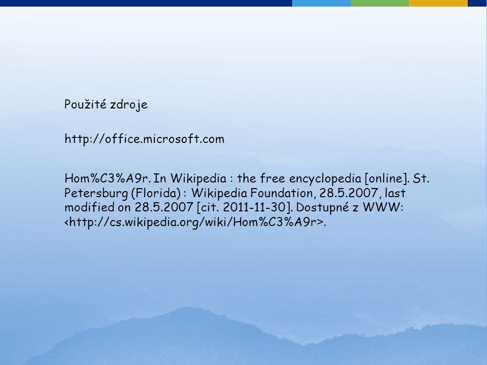 Použité zdroje http://office.microsoft.com.
