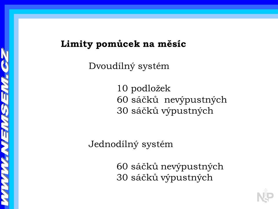 WWW.NEMSEM.CZ Limity pomůcek na měsíc Dvoudílný systém 10 podložek