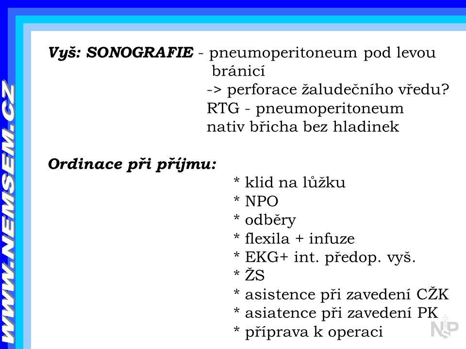 WWW.NEMSEM.CZ Vyš: SONOGRAFIE - pneumoperitoneum pod levou bránicí