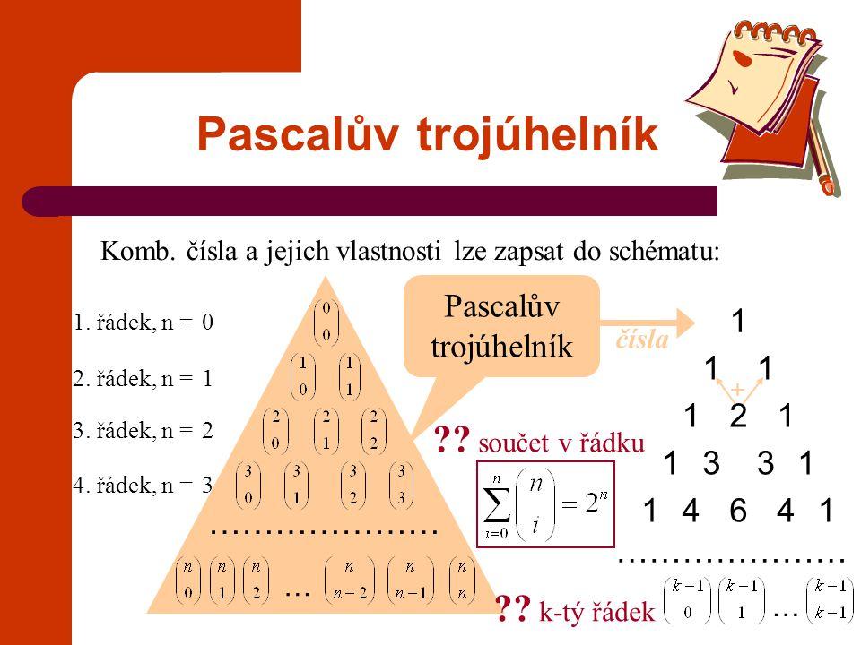 Pascalův trojúhelník součet v řádku k-tý řádek