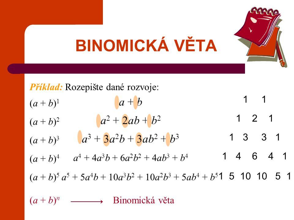 BINOMICKÁ VĚTA a + b a2 + 2ab + b2 a3 + 3a2b + 3ab2 + b3