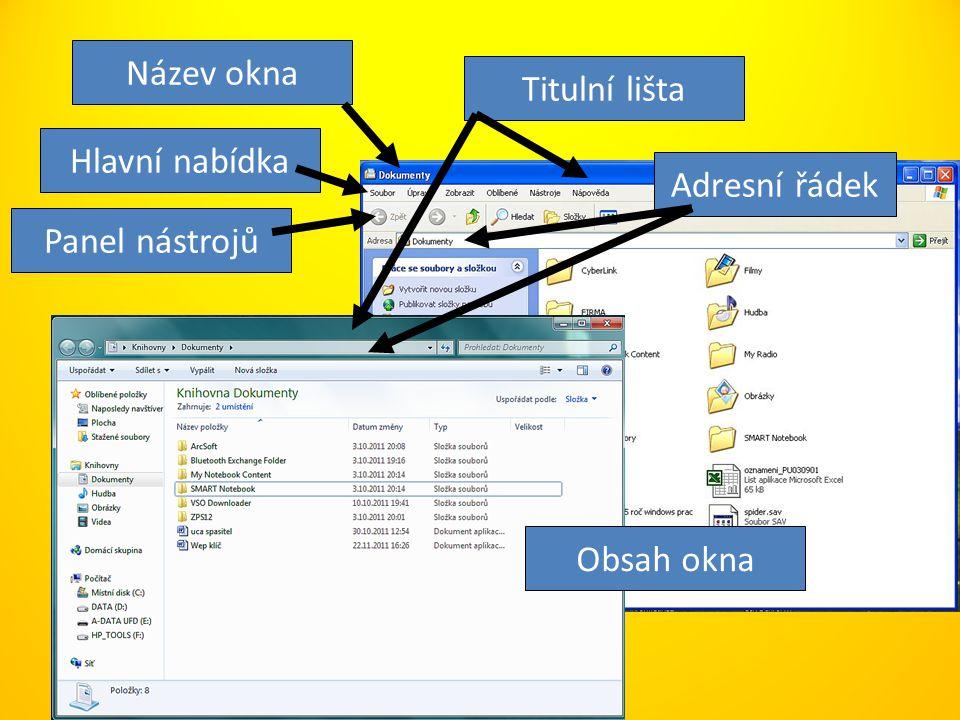 Název okna Titulní lišta Hlavní nabídka Adresní řádek Panel nástrojů Obsah okna