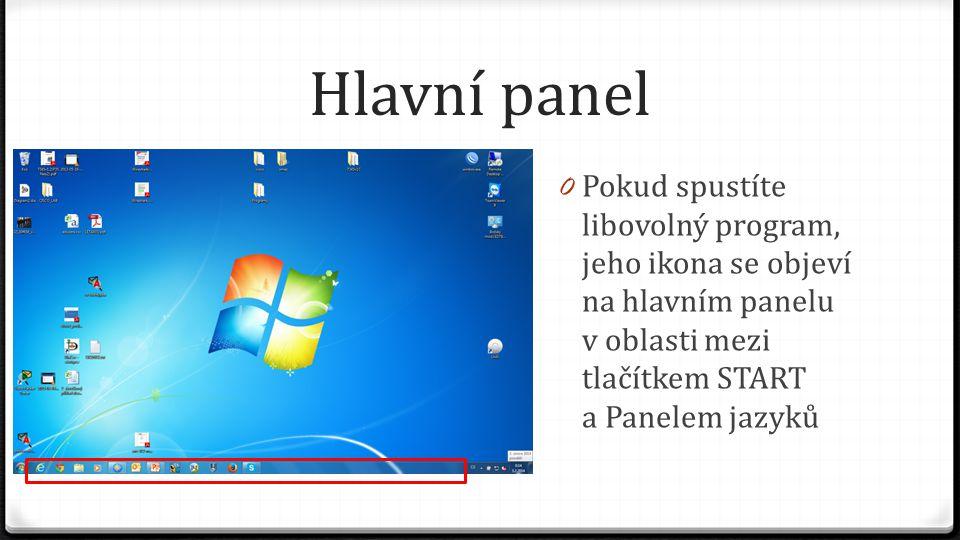 Hlavní panel Pokud spustíte libovolný program, jeho ikona se objeví na hlavním panelu v oblasti mezi tlačítkem START a Panelem jazyků.