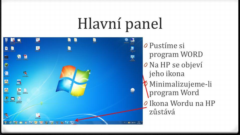 Hlavní panel Pustíme si program WORD Na HP se objeví jeho ikona