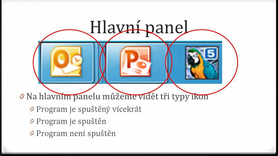 Hlavní panel Na hlavním panelu můžeme vidět tři typy ikon